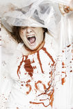 Bloodied woman screams Royalty Free Stock Images