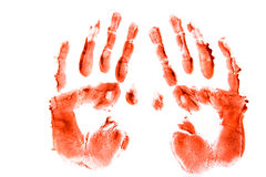 Bloodly hand prints. Bloodly red hand prints pair isolated on white background stock photo
