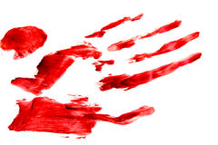 Bloodly red hand and fingers print Stock Images