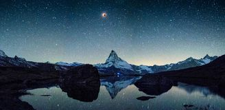 Bloodmoon over matterhorn. Sunset at Matterhorn with reflection in Stellilake in the late afternoon royalty free stock images