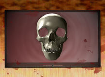 Bloodstained TV 4. Horror theme template featuring a bloodstained television set and skull Royalty Free Stock Photography