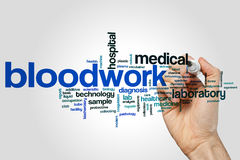 Bloodwork word cloud concept on grey background Royalty Free Stock Image