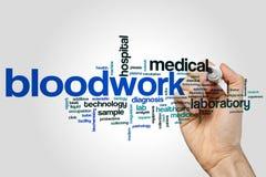 Bloodwork-Wort-Wolkenkonzept auf grauem Hintergrund Lizenzfreies Stockbild