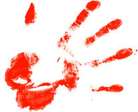Bloody. Print from a palm of the person on the white Royalty Free Stock Image