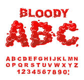 Bloody ABC. Red liquid letter. Fluid lettring. Blood font of sca Stock Photo