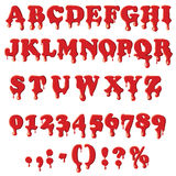 Bloody alphabet isolated on white background. Bloody alphabet with numbers isolated on white background. English font in blood texture set collection vector Stock Photos