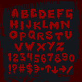 Bloody alphabet and other signs. Vector art Stock Photography