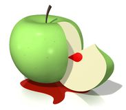 Bloody apple. Image from other apple series.3-d design. Isolated Royalty Free Stock Photo