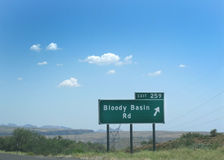 Bloody Basin Rd exit sign Stock Photos