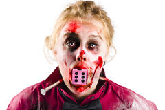 Bloody and battered woman Royalty Free Stock Image