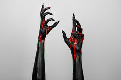 Bloody black thin hands of death Royalty Free Stock Image