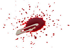 Bloody blade with blood splatter Royalty Free Stock Photography