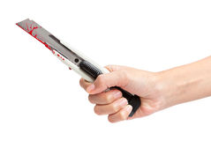 Bloody Boxcutter Royalty Free Stock Image