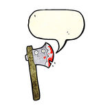bloody cartoon axe with speech bubble Stock Image