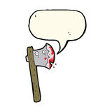 bloody cartoon axe with speech bubble Stock Photography