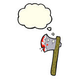 bloody cartoon axe with thought bubble Stock Photography