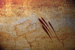 Bloody claws grunge background. Grunge background. bloody claw markings on a rock surface royalty free illustration