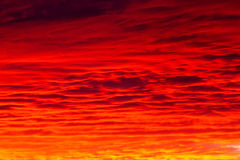Red sky. Bloody clouds in the mountains red sunset or sunrise royalty free stock photography