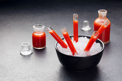 Bloody cocktail in glass tubes for Halloween Stock Images