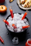 Bloody cocktail in glass tubes for Halloween party Stock Photography