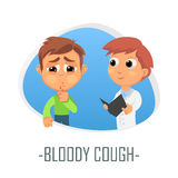 Bloody cough medical concept. Vector illustration. Royalty Free Stock Photos