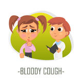 Bloody cough medical concept. Vector illustration. Doctor and patient are talking in the hospital. Isolated on white background Royalty Free Stock Photo