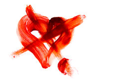 Bloody crossed heart shape stain Stock Photo