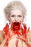 Bloody crying woman Stock Photography