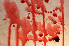 Bloody drops and stains on the old textured background Stock Photos