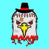 Bloody eagle with black hat,vector cartoon. Design for t-shirt,vector illustration art,new design,funny animal cartoon Royalty Free Stock Photos