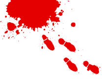 Bloody Feet. Illustration of blood splashes and foot prints over white background Stock Photography