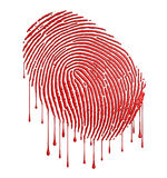 Bloody fingerprint. With leaking blood over white background (3D illustration Royalty Free Stock Photography