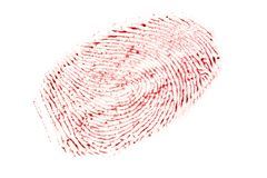Bloody fingerprint isolated on a white background.  stock photo