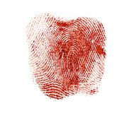 Free Bloody Fingerprint On A White Background Stock Images - 162731844
