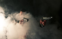 Bloody gangster in action royalty free stock photography