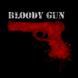 Bloody gun-Weapon. Illustration of a bloody gun on a black background as a symbol of violence Stock Images