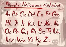 Bloody halloween alphabet on vintage grunge background vector illustration