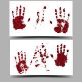 Bloody Halloween hand imprints. Vector illustration. 16:9 Stock Images