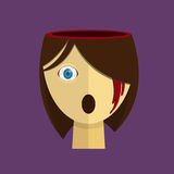 Bloody Halloween parts - female human scary head bleeding eye. Royalty Free Stock Images