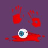 Bloody Halloween parts - hand print blue eyeball blood. Royalty Free Stock Photo