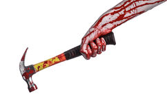 Bloody halloween theme: bloody hand holding a bloody hammer isolated on a white background Royalty Free Stock Photo