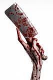 Bloody Halloween theme: bloody hand holding a large bloody kitchen knife on a white background isolated Royalty Free Stock Images