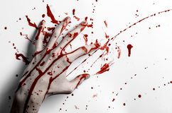Bloody halloween theme: bloody hand print on a white leaves bloody wall Royalty Free Stock Images