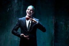 Bloody Halloween theme: crazy joker face Royalty Free Stock Photo
