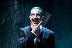 Bloody Halloween theme: crazy joker face Royalty Free Stock Images