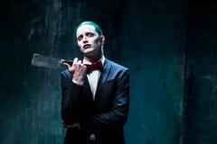 Bloody Halloween theme: crazy joker face Royalty Free Stock Photos