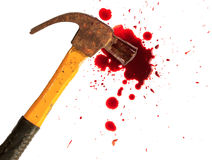 Bloody hammer and small blood on white. Royalty Free Stock Photo