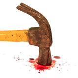 Bloody hammer and small blood on white. Stock Images