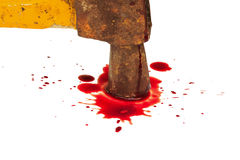 Bloody hammer and small blood on white. Royalty Free Stock Photos