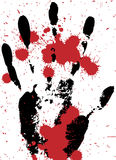 Bloody hand - crime scene. Black hand with red splash on white Stock Photo